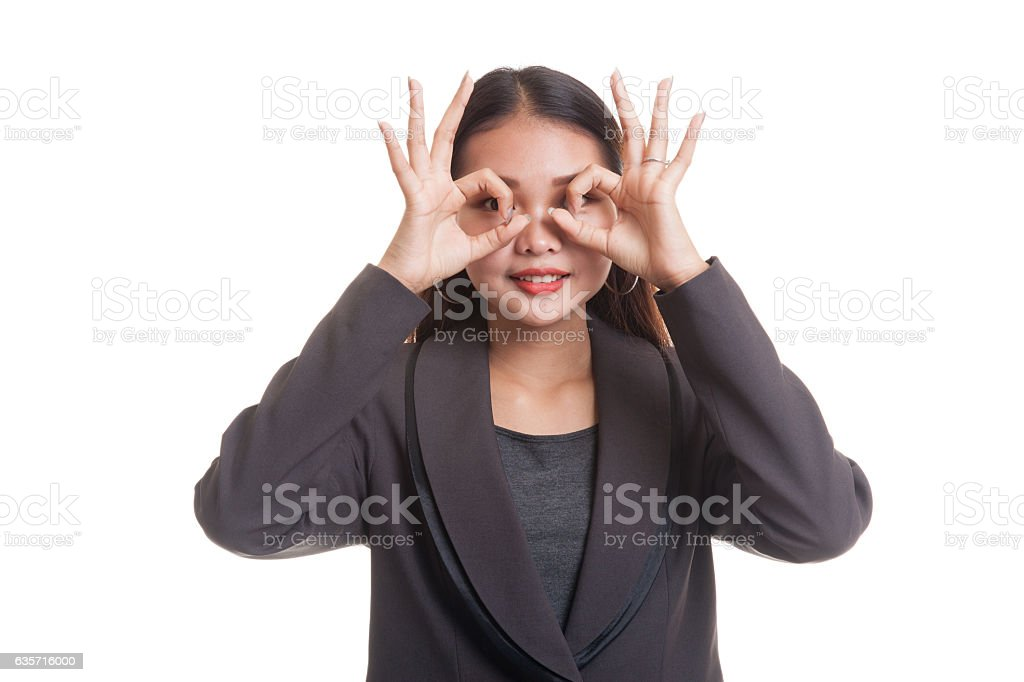 Asian business woman do funny  double OK sign as royalty-free stock photo