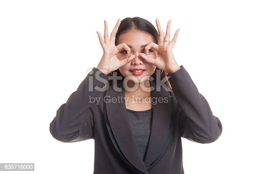 Asian Business Woman Do Funny Double Ok Sign As Stock Photo & More Pictures of Adult