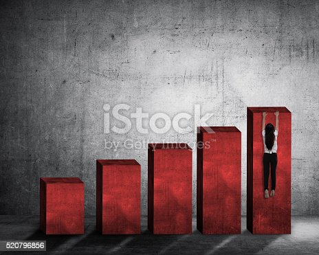 904389218istockphoto Asian business woman hanging on the chart 520796856