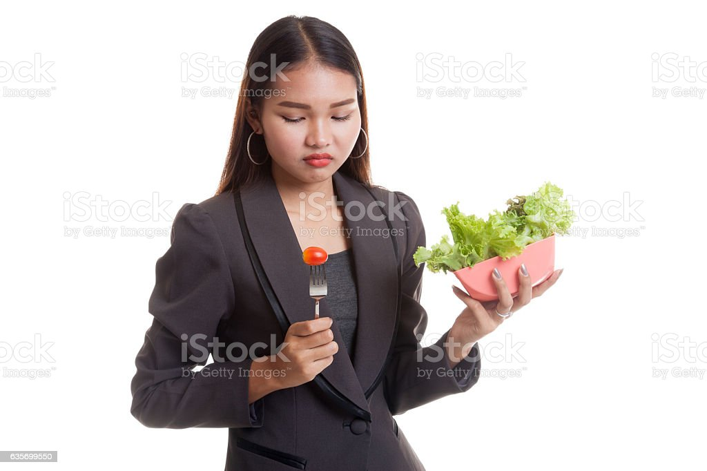 Asian business woman hate salad. royalty-free stock photo