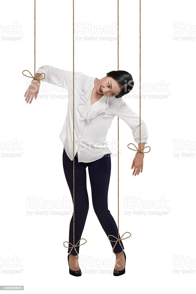 Asian business woman have string attached to her body stock photo