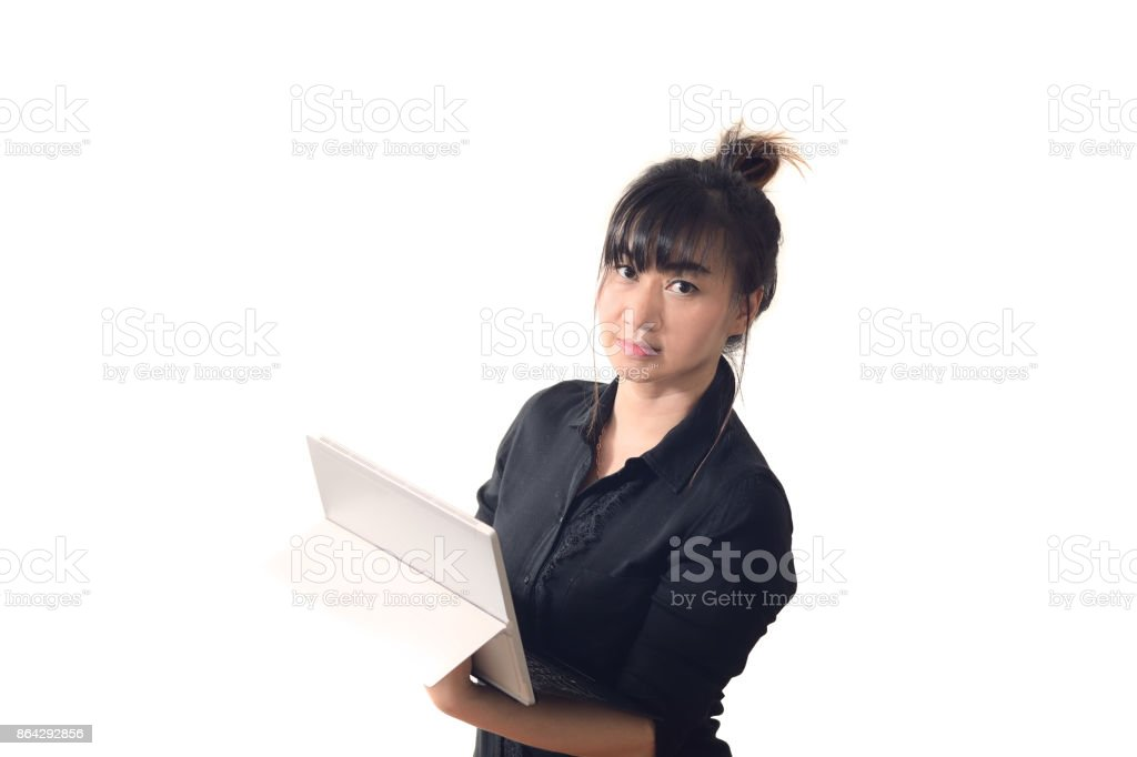 Asian business woman holding laptop and looking camera isolate on white background royalty-free stock photo