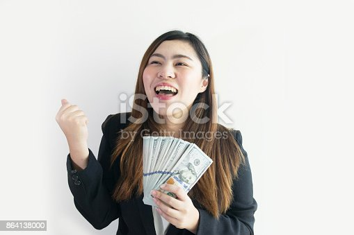 Asian Business Woman Is Enjoy With Big Money Us Dollar Notes On White Background Isolated Stock Photo & More Pictures of Adult