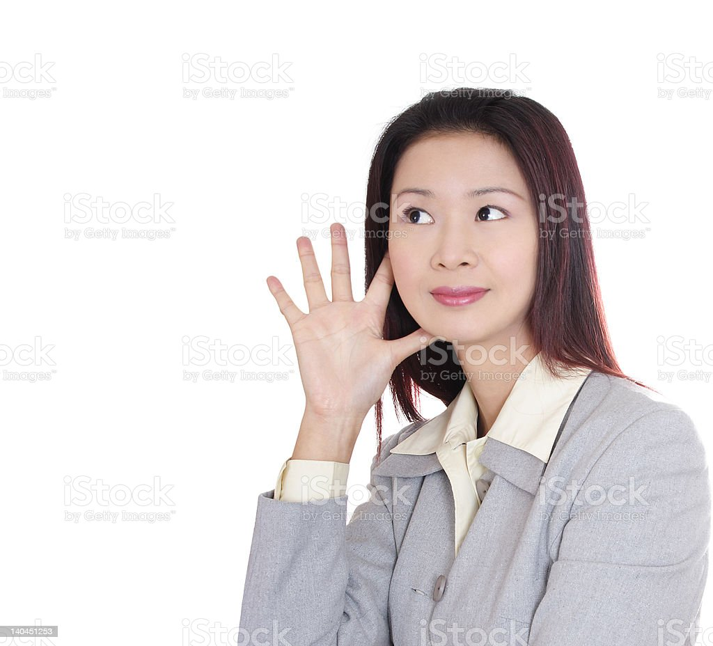 Asian business woman listening royalty-free stock photo