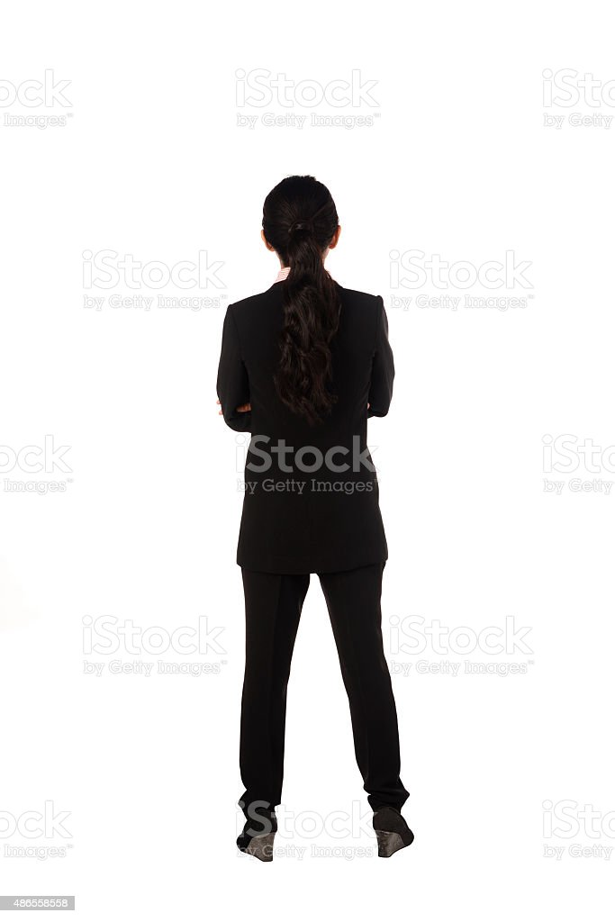Asian business woman standing backview stock photo