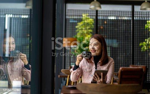Asian business woman taking a coffee break
