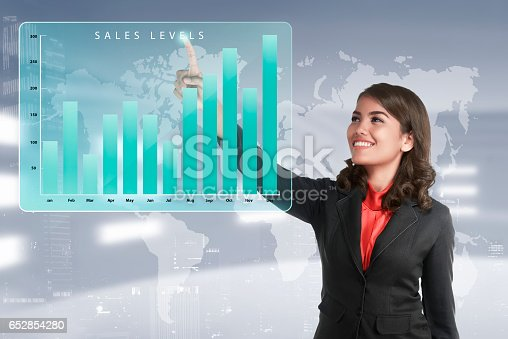 istock Asian business woman touching marketing sales income levels chart 652854280