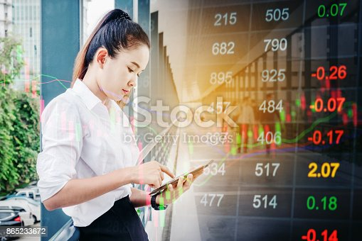 istock Asian business woman Using smartphone on digital stock market financial background 865233672