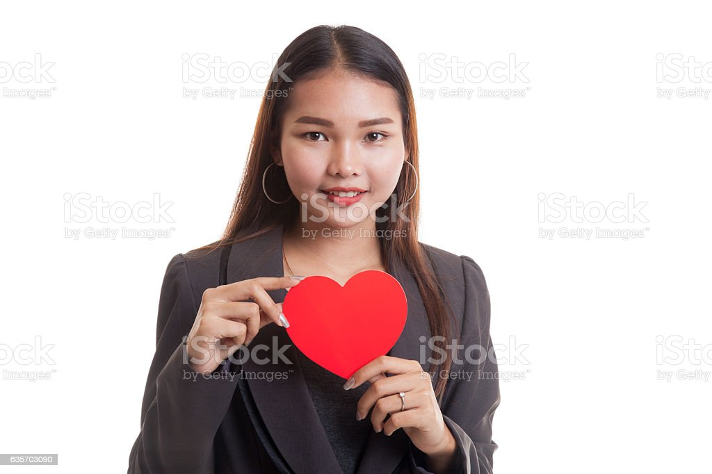 Asian business woman with red heart. royalty-free stock photo