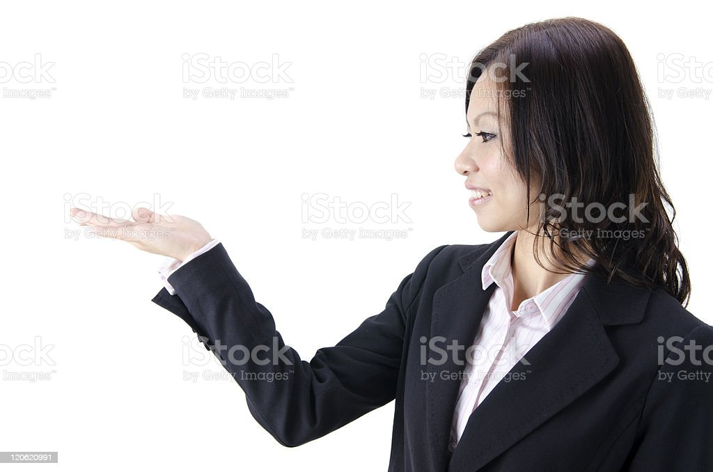 asian business women showing hand royalty-free stock photo