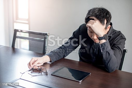 539437954 istock photo Asian Businessman feeling stressed in meeting room 1187750244