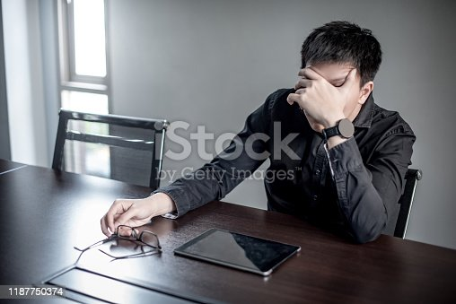 539437954 istock photo Asian Businessman feeling stressed in meeting room 1187750374