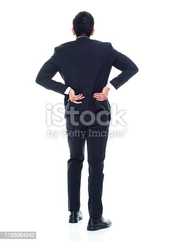 Asian businessman in a suit on white background - backache