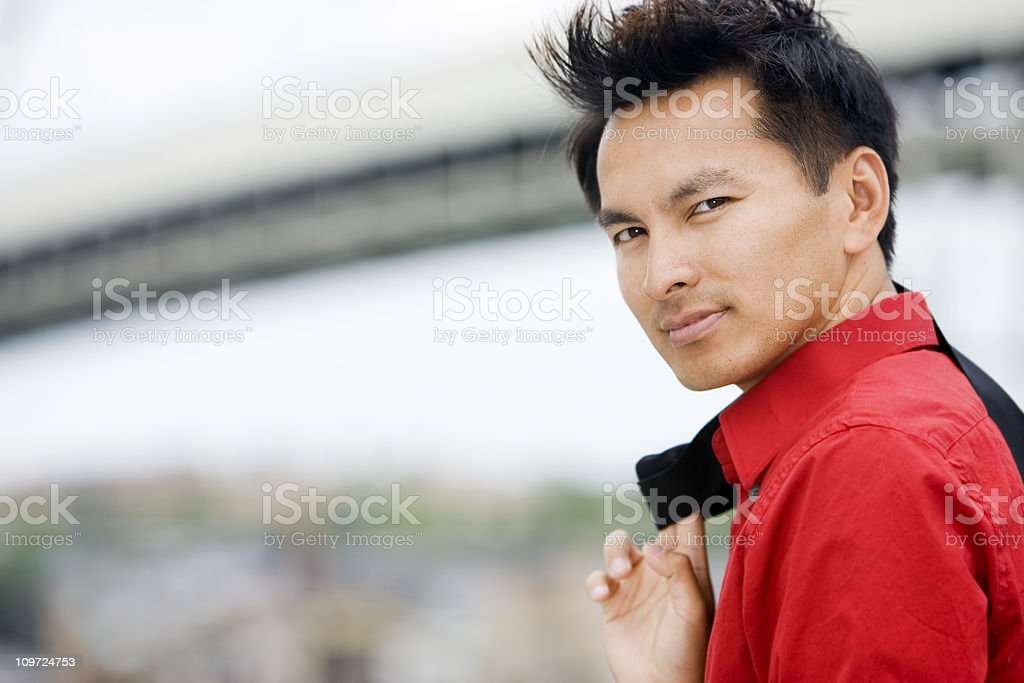 Asian Businessman Portrait Looking Over Shoulder Outside, Copy Space royalty-free stock photo