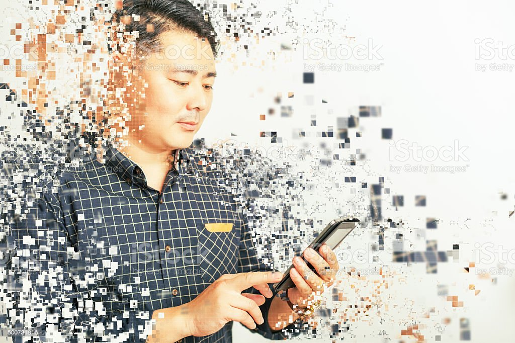 asian businessman using a tablet pc at white background stock photo