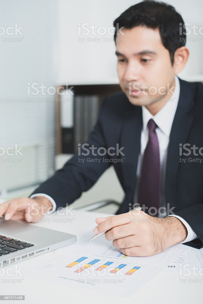 Asian businessman working in the office Lizenzfreies stock-foto