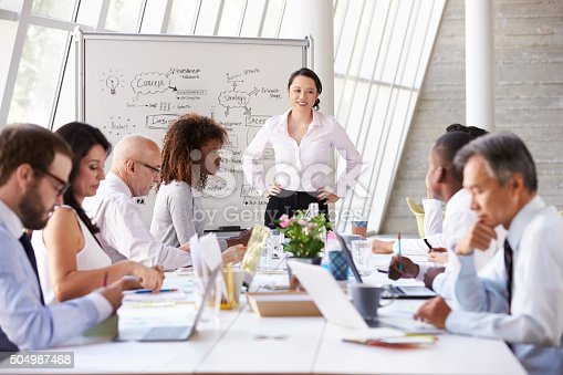 504987926 istock photo Asian Businesswoman Leading Meeting At Boardroom Table 504987468