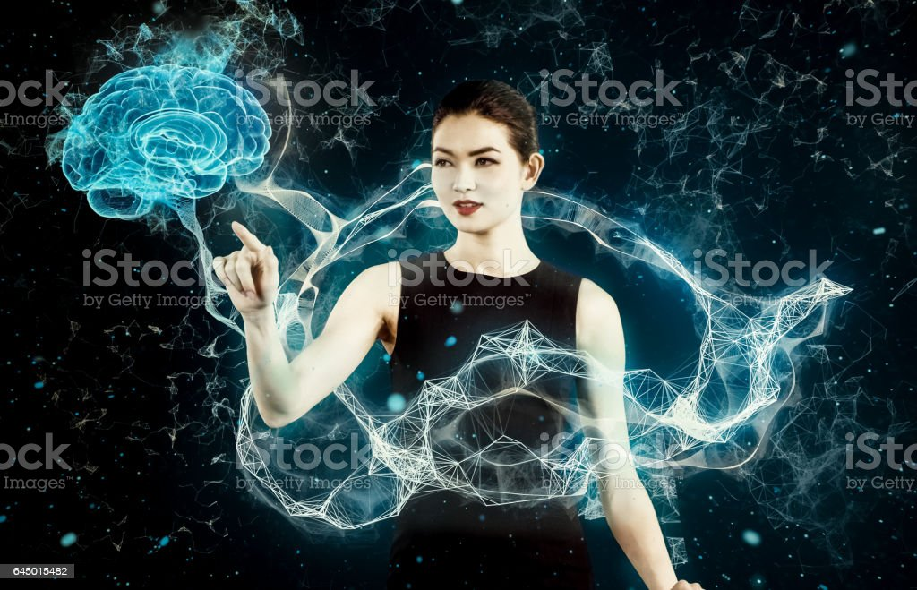 Asian businesswoman working with virtual reality. Medical research stock photo