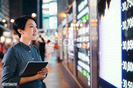 istock Asian businesswomen checking stock market data on tablet before Hong Kong financial display board 970739476