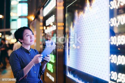Hong Kong, Bank, Digital Display, Chart, Businesswoman,Big Data,