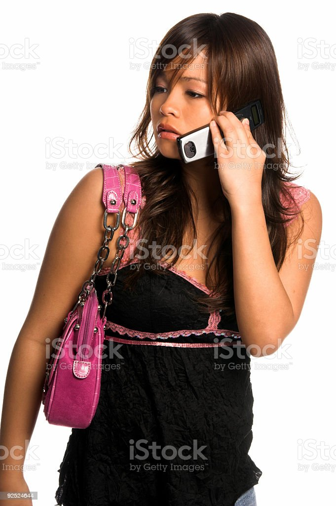 Asian Cell Phone Woman royalty-free stock photo