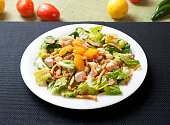 Asian Style Chicken & Romaine Salad with Tangerine & Wonton Strips