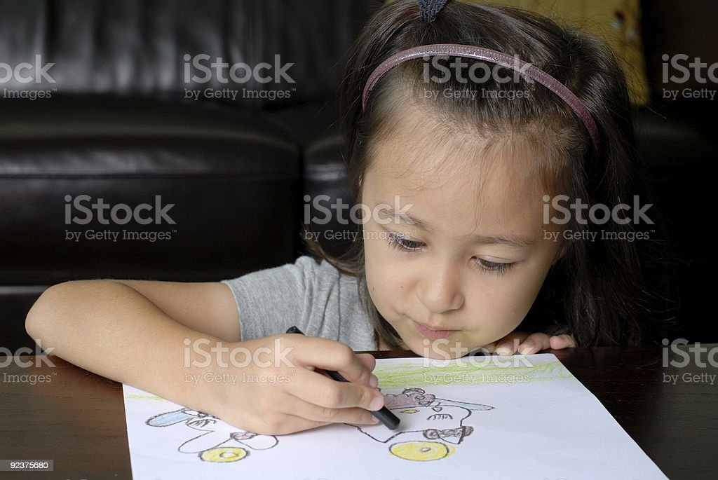 Asian Child Coloring royalty-free stock photo