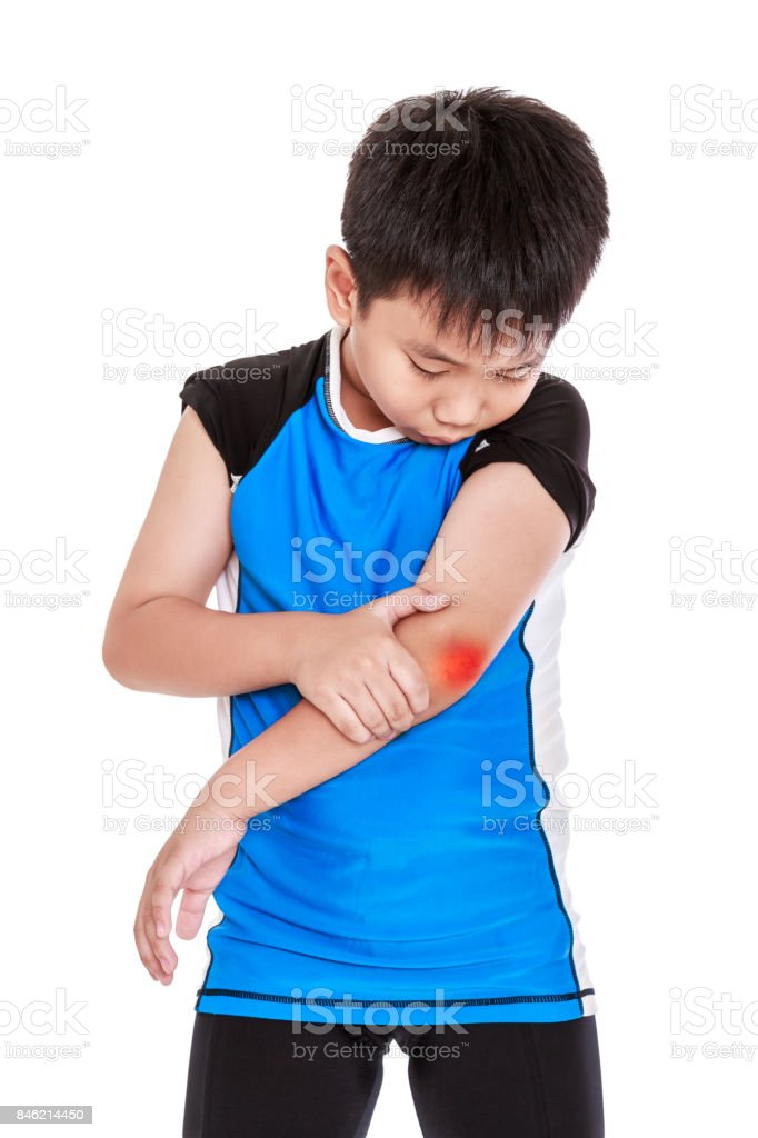 Asian child cyclist injured at elbow. Isolated on white background. stock photo