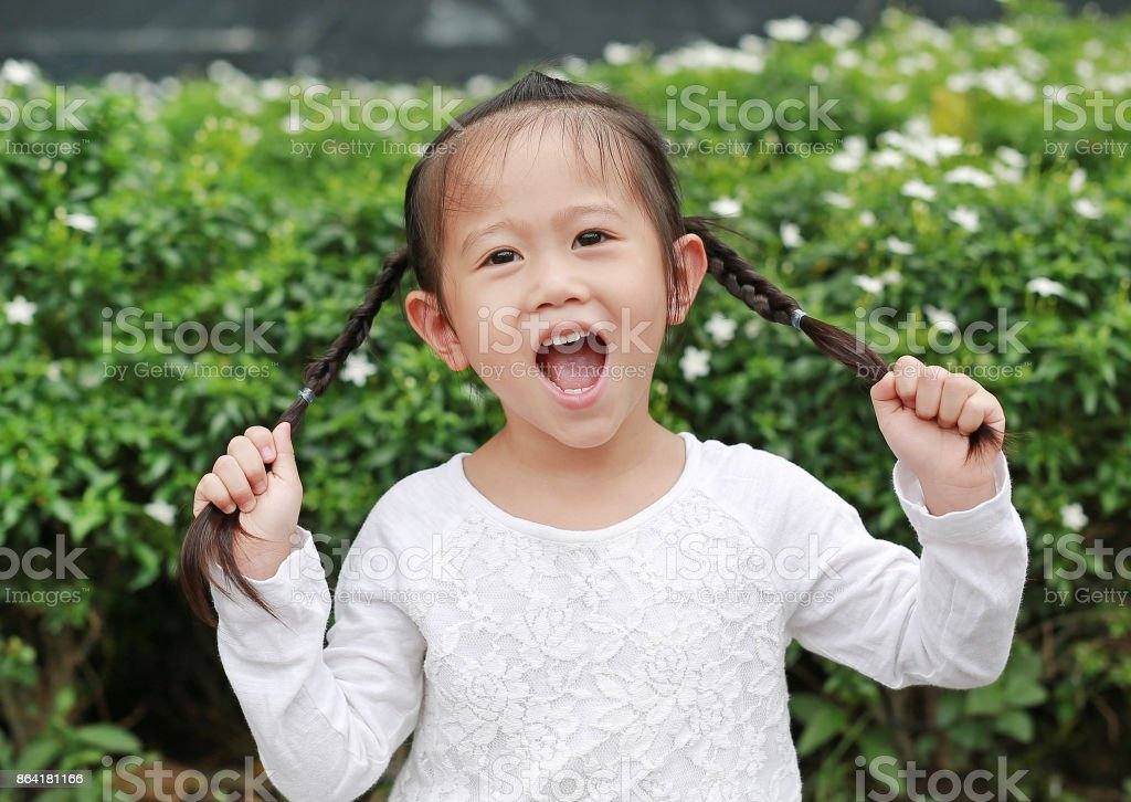 asian child girl holding her pigtails hair. Her hair is tied in two ponytails. royalty-free stock photo