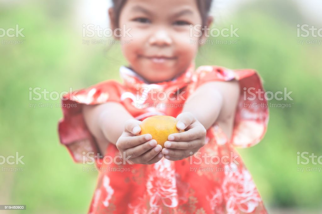 Cute asian child girl in china traditional dress holding an orange...