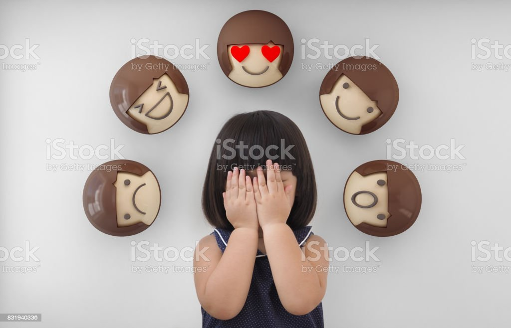 Asian child girl with white background, Feelings and emotions of kid stock photo