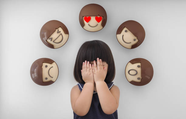 asian child girl with white background, feelings and emotions of kid - emotion stock pictures, royalty-free photos & images