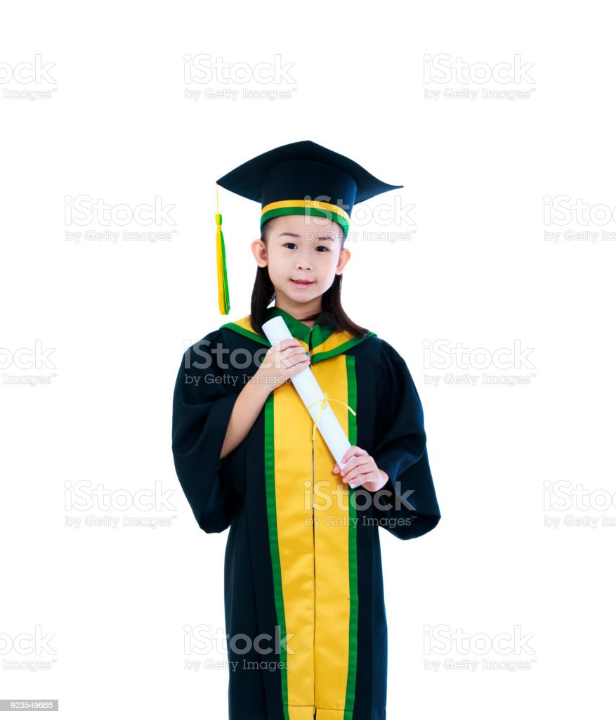 Asian Child In Graduation Gown And Cap Smiling And Holding Diploma ...
