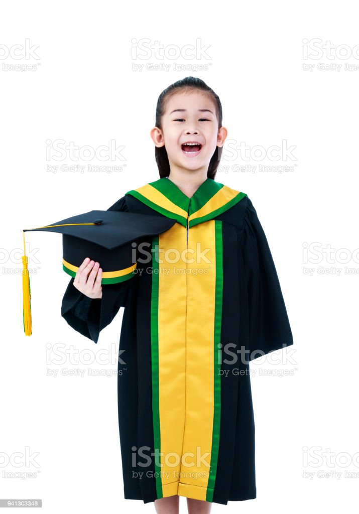 Asian Child In Graduation Gown Smiling And Holding Cap Stock Photo ...