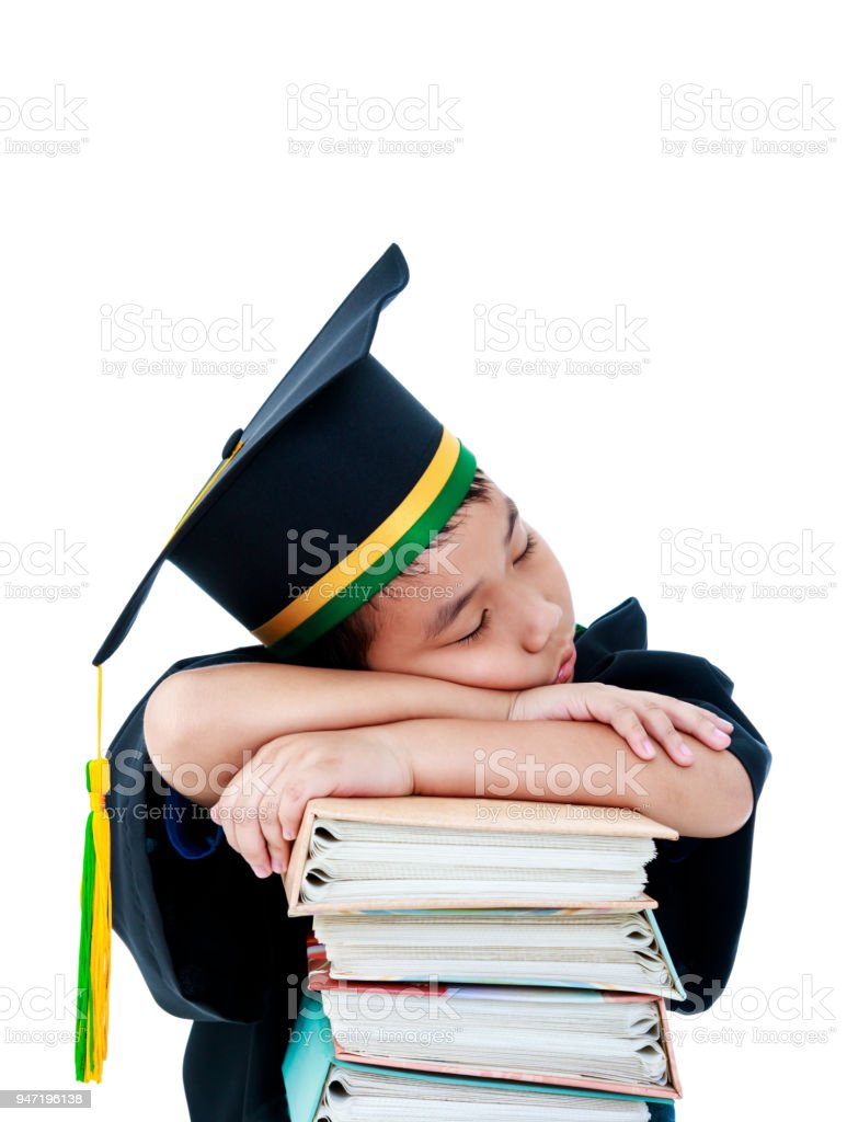 Asian Child In Graduation Gown With Many Books Isolated On White ...