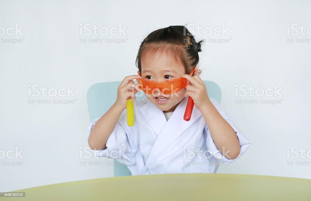 Asian Child In Scientist Uniform Holding Test Tube Scientist