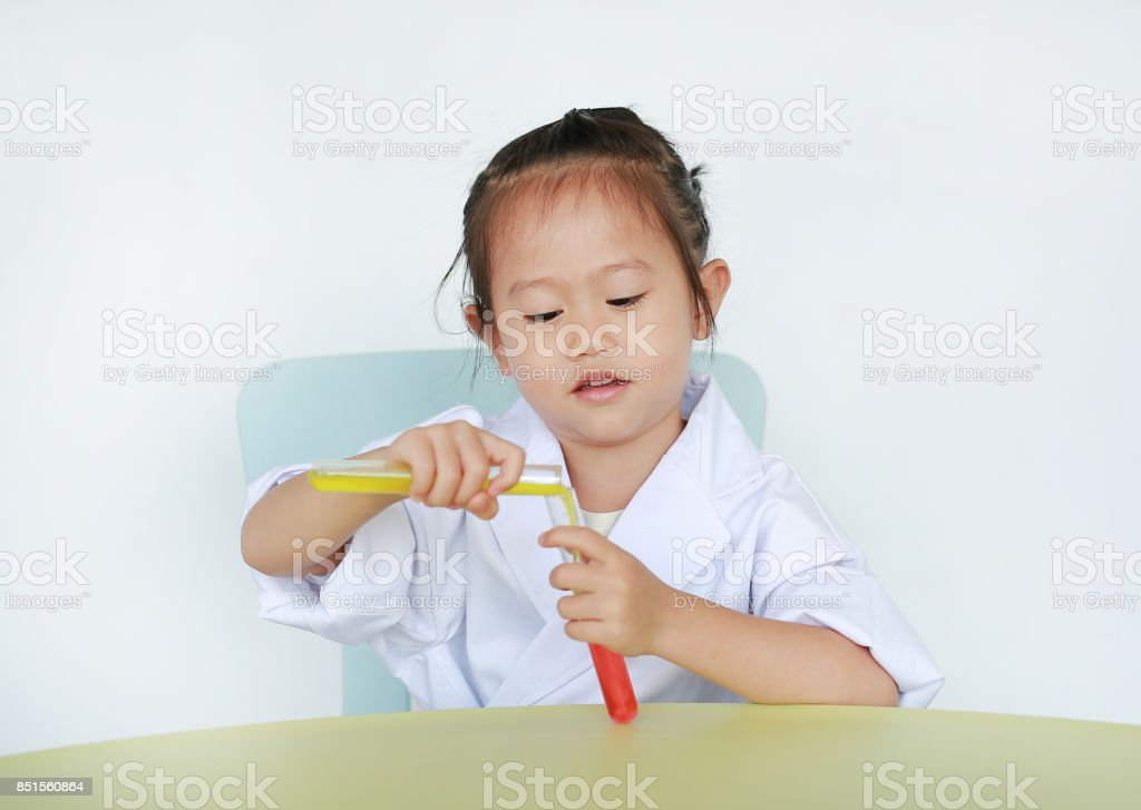 Asian Child In Scientist Uniform Holding Test Tube With Liquid Isolated On White Background Scientist