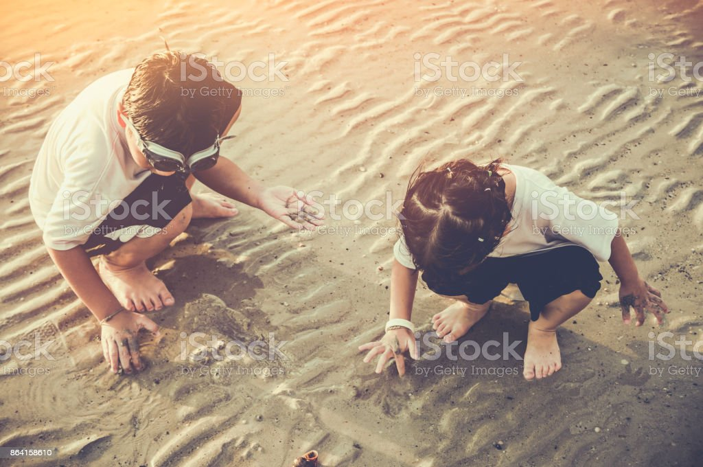 Asian children digging in the sand. Concept of connecting children with nature. royalty-free stock photo