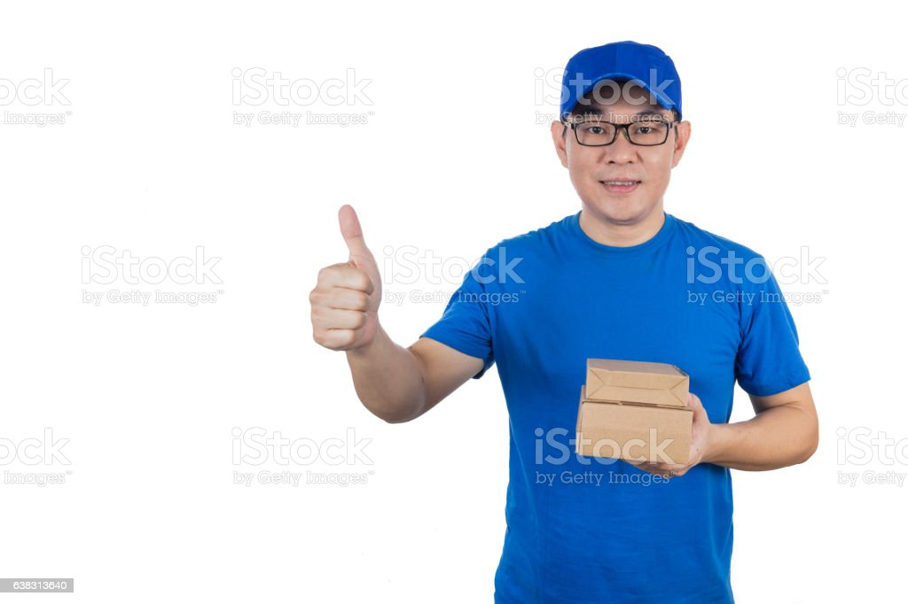 Asian Chinese delivery guy in uniform showing thumbs up - Stock image .
