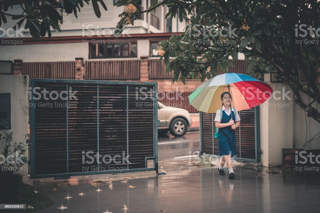 asian chinese family child coming back from school to home carrying multi-colored umbrella in rain stock photo