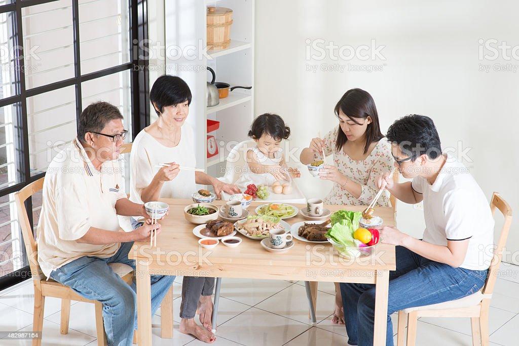 Asian Chinese family dinner stock photo