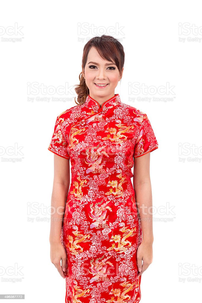Asian chinese girl greeting in traditional chinese stock photo asian chinese girl greeting in traditional chinese royalty free stock photo m4hsunfo