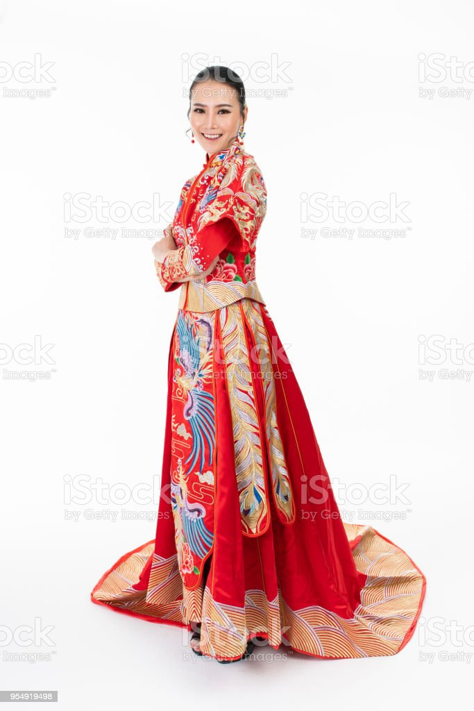 Asiatische Chinesische In Traditionellen Brautkleid Stock-Fotografie ...