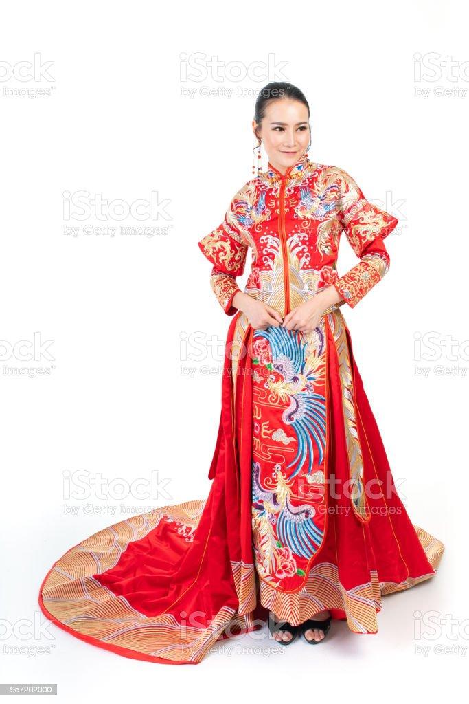 Brautkleider China | Asiatische Chinesische In Traditionellen Brautkleid Stock Fotografie