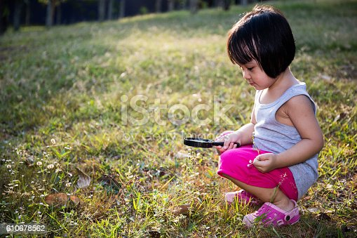 istock Asian Chinese Little Girl Exploring With Magnifying Glass 610678562