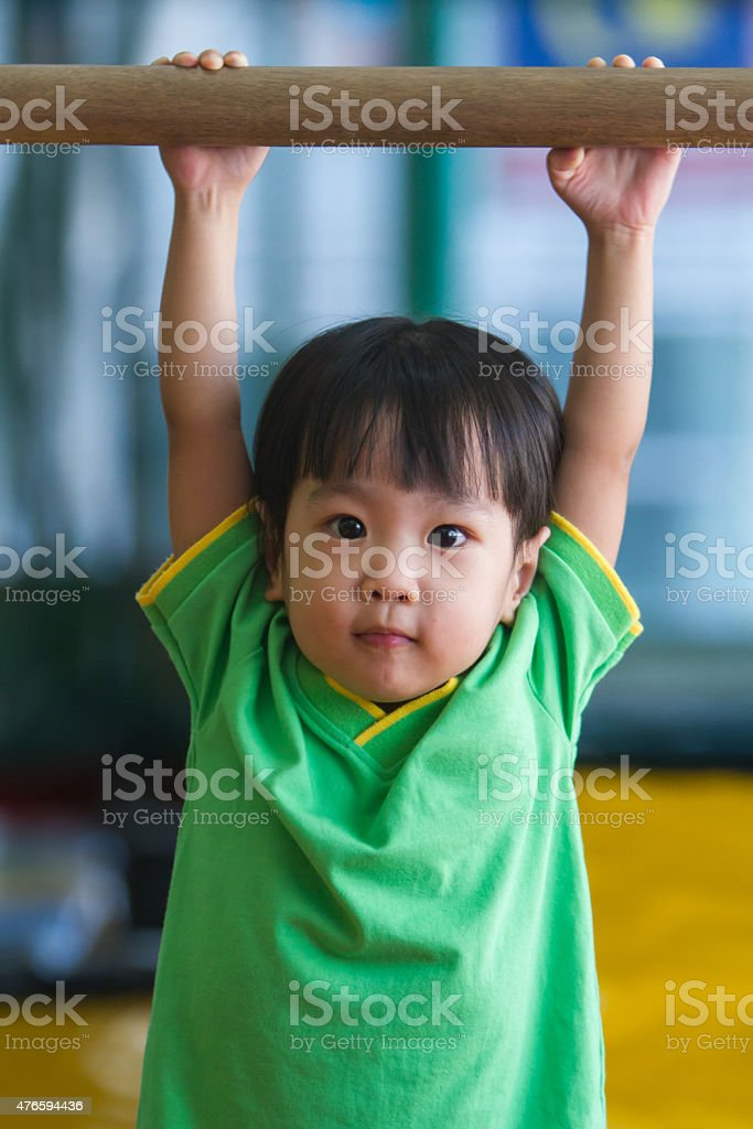 Asian Chinese Little Girl Gymnastic stock photo