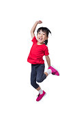 Asian Chinese little girl jumping up and wave her hands in isolated white background