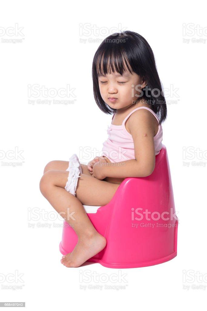 Asian Chinese Little Girl Sitting On Chamberpot Stock