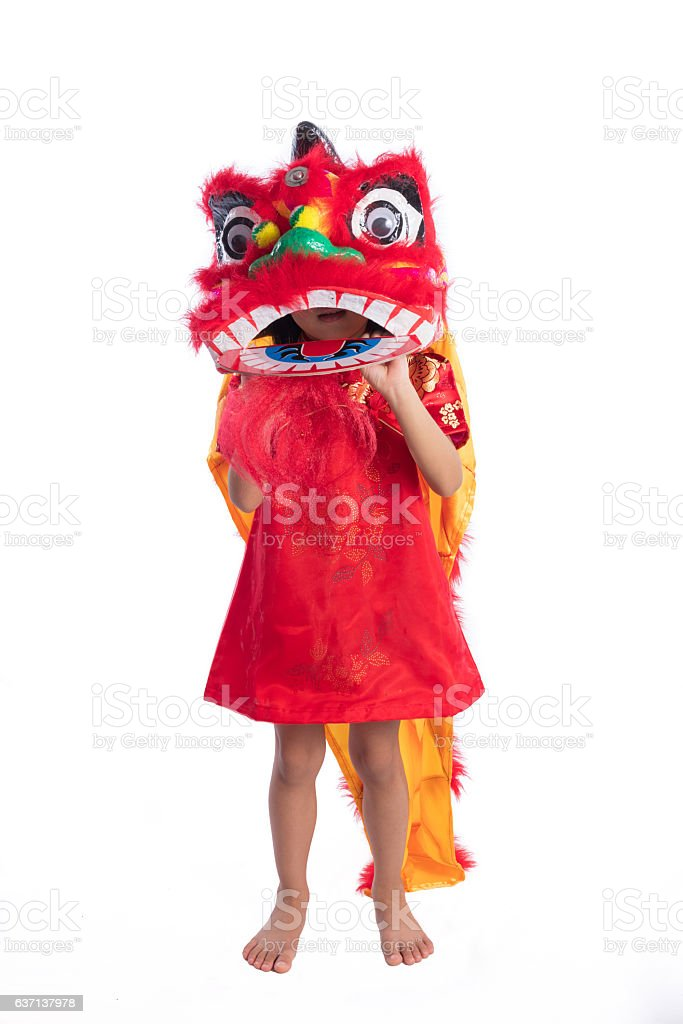 15998f8c8 Asian Chinese Little Girl With Lion Dance Costume Stock Photo   More ...