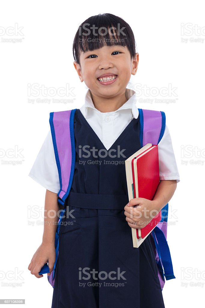 Asian Chinese Little Primary School Girl Holding Books